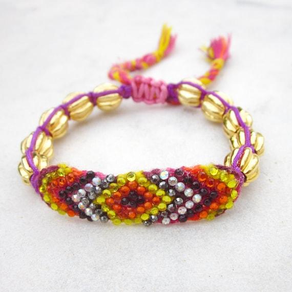 PINK - Rhinestone friendship bracelet  crystals knotted bracelet macrame bracelet gold tone beads bracelet stackable bracelet adjustable