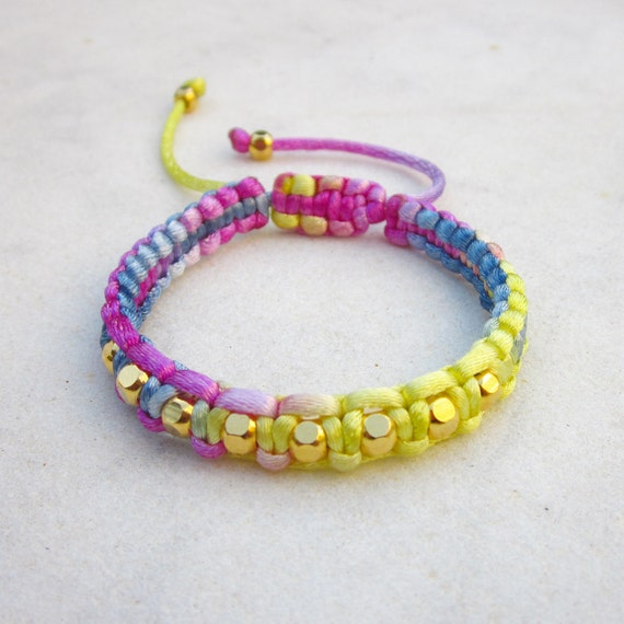 Multicolor friendship bracelet macrame gold beads bracelet stackable bracelet adjustable