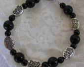 Black and Silver Flora Bracelet