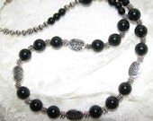 Black and Silver Flora Necklace