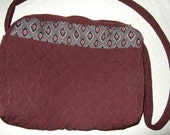 Burgandy and Grey Quilted Handbag