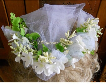 First Communion veil head wreath flower girl bridal head band white