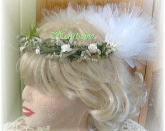 Head wreath childs youth white Adult Wedding floral First Communion