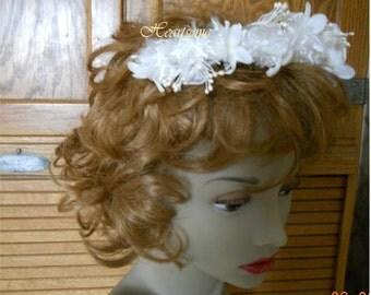 Headband feathery bride flower girl communion wedding angel stephanotis