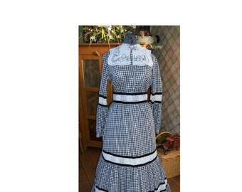 Victorian Prairie vintage 70s dress Neiman Marcus skirt full costume Black white gingham dress