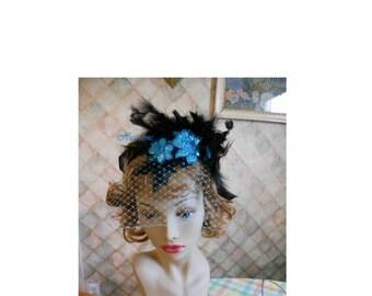 headband black teal veil net sequin flapper costume feathers saloon girl burlesque