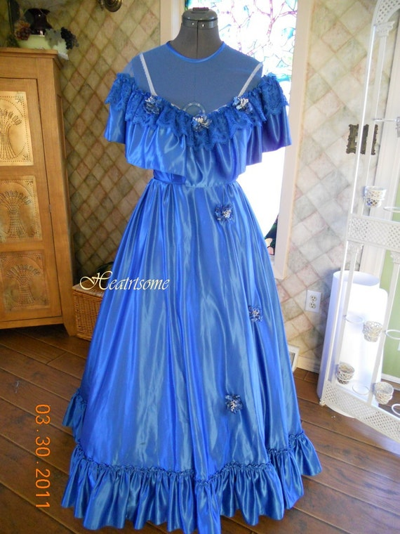 Vntg 70's 80s gown dress Southern Belle Victorian Ball Civil War Blue Free ship
