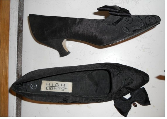 Black Edwardian Victorian style shoes slippers costume