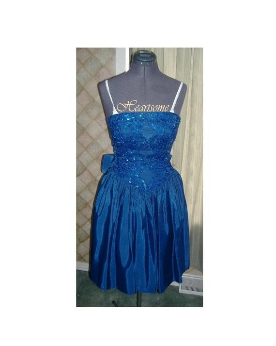 Blue Gunne Sax vintage 80s dress cocktail clubbing prom Blue sequin McClintock