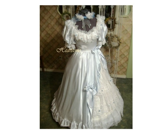 Victorian Ball Bo Peep Vntg 80s gown dress Southern Belle ruffled lace SALE