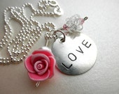 LOVE Charm - Sterling Silver Necklace - 16 inches-  Rose, Flower, Pink, Silver, White, Stamped, Mom, Romantic, Romance, Seet, Cute, Unique, Adorable, Lovely