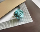 Wire Wrapped Ring TO ORDER - Custom Size - Green Turquoise Carved Rose , Green, Flower, Silver, Feminine, Mom, Custome Ring, Modern, Pretty
