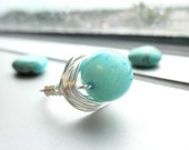 Wire Wrapped Ring - to order- Aqua Green Gemstone - Silver, Green, Lime, Celadon, Dollar Bill, Mint, Simple, Cute, Classic
