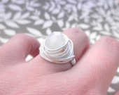 Wire Wrapped Ring - To Order - Custom Size - Opal White, Crystal, Bright, Handmade, Cute, Lovely, Love, Romantic, Snow, Ice, Grey, Gray