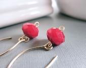 Ruby Earrings - Gold Filled, Red, Dark Red, Burgundy, Wine, Bright, Night, Nice, Casual, Everyday, Handmade, Jewelry Earrings