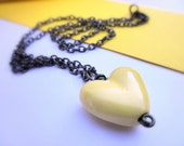 Necklace with Wire Wrapped Pendant - Yellow Ceramic Heart, Lemon, Cold, Gunmetal, Rustic, Fall, Drop, Pendant, Simple, Juvenil, Valentine, Love