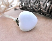 Wire Wrapped Ring - To Order - Snow Quartz Heart, White, Ice, Snow, Cold, Gunmetal, Rustic, Fall, Simple, Juvenil, Valentine, Love