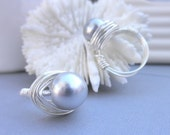 Wire Wrapped Ring Size 6 - Swarovski Pearl, Light Grey, Grey, Gray, Bright,  Simple, Cute, Classic, Romantic, Lovely