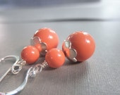 Coral Earrings - Swarovski Pearls, Wire Wrapped, Coral, Orange, Light, Simple, Salmon, Silver, Bridesmaid, Flower, Pretty, Medium, Cute