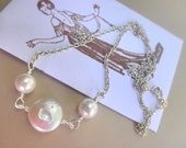 Ivory Pearls Necklace - Freshwater Coin, Wedding, White, Bride, Bright, White, Red, Grey, Love, Romantic, Cute, Unique, Adorable, Lovely