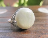 Natural Jasper Ring - Grey Ring - Wrapped Stone Ring To Order - Olive Green Milky Mint Gray Ring, Jewelry Rings, Stone Rings, Silver Rings