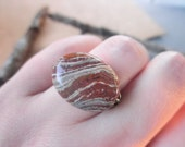 Stone Ring - Size 6.5 - Zebra Jasper Gemstone - Brass, Otter Brown, Fall, Brown, Woodland, Nature, Brown, Chocolate, Caramel, Mocca, OOAK