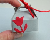 Jewelry Gift Wrap Box - Box for Rings - Flower, Red, Romantic, White, Favor, Holiday, Valentine's Day, Kids, Mini Box, Cute