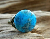 Wire Wrapped Ring - Size 8.5 - Crazy Lace, Blue, Cobalt, Teal, Dark Blue, Royal, Cute, Simple, Lovely, Unique, Rustic, Brown, Caramel