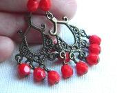 Antique Gold Earrings -  Drop Antique Brass and Czech Beads - Red, Blood, Bronze, Brass, Bright, Party, Flamingo, Salsa, Long