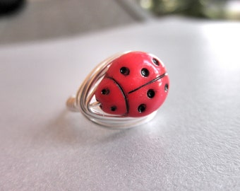 LADYBUG RING, Red Ladybug Ring. To Order. Custom size, Red, Silver, Black, Animal, Bug Ring, Red and Black Ring, Jewelry Rings, Jewelry Kids