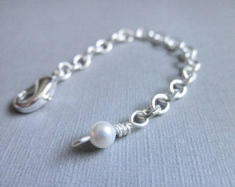 3 Inches Pearl Necklace Extender - Silver Plated- White, Cream, Ivory, Silver, Chain, Cute, Classic