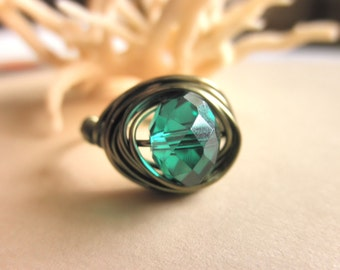 Handmade RING - Custom Size - Emerald Crystal - Green, Forest, Lovely, May, Bright, Faceted, Rustic, Custom, Gift, Simple