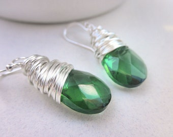 Green Earrings - Green, Dark Green, Olive, Forest, Avocado, Life, Nature, Yard, Emerald, Bright, Faceted, Fall, Winter, Adorable