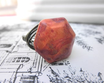 Handmade Ring - Size 9.5 - Sponge Red Coral - Rustic, Hexagon, Red, Oxblood, Terra, Tribal, Brink, Dark, Summer, Vacation