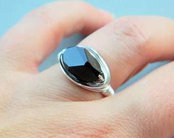Black Ring. Jewelry Ring, Silver Rings, Crystal Ring, Cocktail, Cubist Crystal, Elegant Ring, Sophisticated Ring, Glamour Jewelry, Size 6