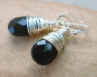 Black Earrings - Wrapped, Black, Onyx, Dark, Night, Caramel, Fashion, Sterling Silver, Grey, Bright, Faceted, Wire, Fall, Winter, Adorable