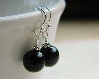 Black Earrings - Swarovski Pearls, Wire Wrapped, White, Black, Smoke, Cloudy, Light, Silver, Bridesmaid, Flower, Pretty, Medium, Short