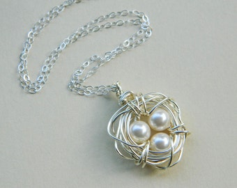 Three Child Bird's Nest Necklace -- Sterling Silver, Pearls, Three Kids, Cream, White, Beige, Ivory, OOAK, Mother's Day, Baby Shower, Mom
