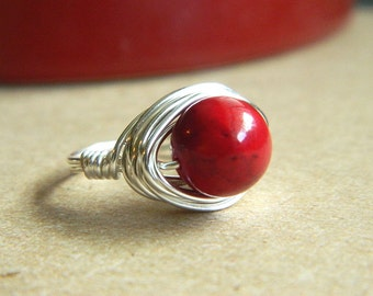 Red Stone Ring, Riverstone Ring, Red Ring, Hot Red Rings, Cocktail Rings, Silver Red Rings, Jewelry Rings, Rustic Ruby Ring, Burgundy Ring