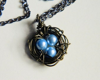 Three Child Bird's Nest Necklace -- Three Kids, Pearls, Blue, Baby Blue, Pastel, Easter, Egg, Sister, Brother, Mother's Day