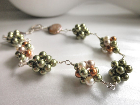 Handmade Bracelet - Beaded Swarovski Pearl Ball - Olive, Green, Cooper, Almond, Champagne , Ivory, Mix of Colors, Unique, OOAK