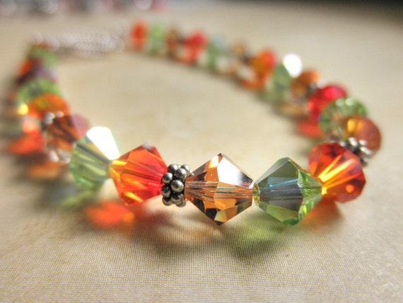 Tricolor Bracelet - Swarovski Crystals - Green, Orange, Copper, Gold, Silver, Bright, Pretty, Simple, Cute, Classic