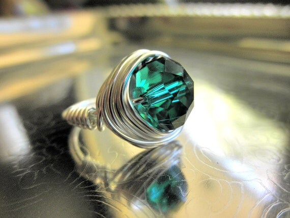 Emerald RING. To Order - Emerald Crystal Ring - Green Forest Silver Ring - May Stone Ring - Jewelry Rings - Green Ring - Green Bead Rings