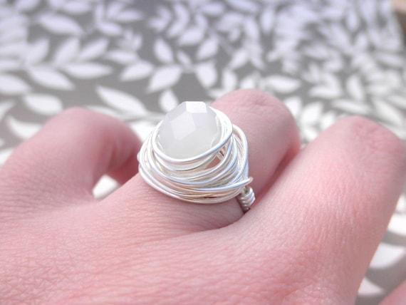 Opal White Ring, Wire Wrapped White Ring, To Order, Opal White Silver Rings, Crystal Rings, Snow Ice Rings. Grey Silver Ring, Crystal Ring