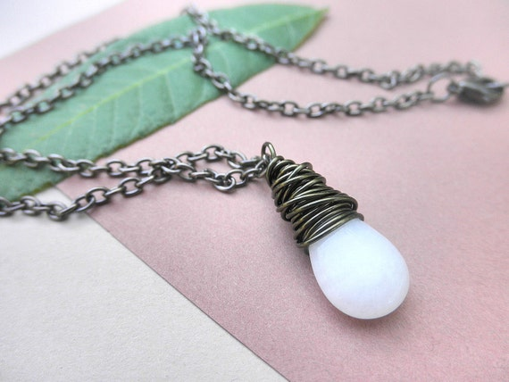 Wire Wrapped Pendant - Necklace - White Quartz Smooth Tear Drops, Snow, Cone, Bright, Ice, Neutral, Gift, Rustic, Fall, Dark