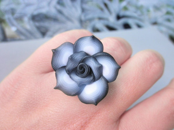 Black and White Ring - To Order . Rose, Grey, Gray, Black, White, Romantic, Unique, Bridesmaids, Petite Ring, Feminine, Lovely
