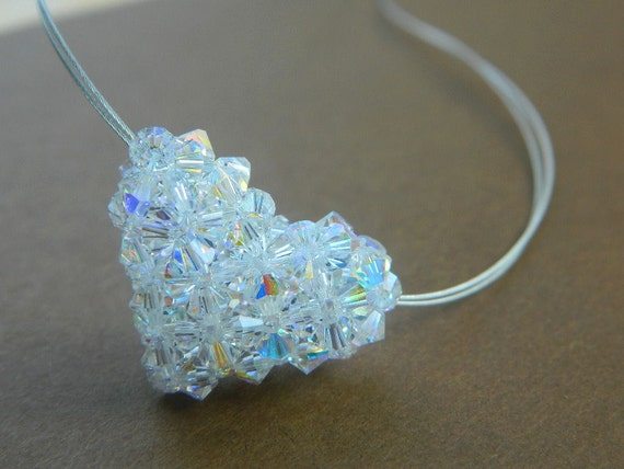 Puffy Heart Pendant/Necklace - Bright, Clear, Shiny, Valentine's Day, Lovely, Mother's Day, Mom, Bride, Romantic, Love, Heart, White, Nice