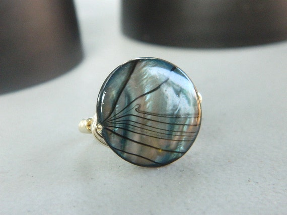 Shell Ring, Blue Striped Shell Ring - Mother of Pearl Rings. Black Grey Teal Silver Ring. Night Ocean Unique Ring. Jewelry Rings, To Order