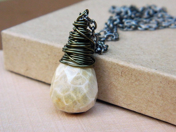 Briolette Necklace .Wire Wrapped Pendant - Caramel, Brown, Gunmetal, Rustic, Fall, Ivory, Earth, Beige, Ligh Brown, Champange, Romantic