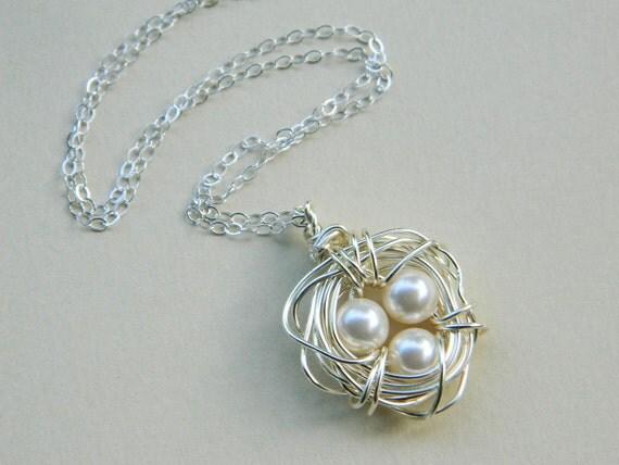 Three Child Bird's Nest Necklace -- Sterling Silver, Pearls, Three Kids, Cream, White, Beige, Ivory, OOAK, Mother's Day, Baby Shower, Mom